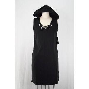 NY&Co Jersey Knit V-Neck Hooded Sheath Dress Black